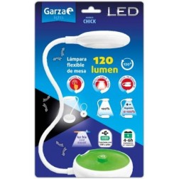Flexo de sobremesa 120Lm 6000K Bl/Ve Led Usb/Pilas Chick Garza