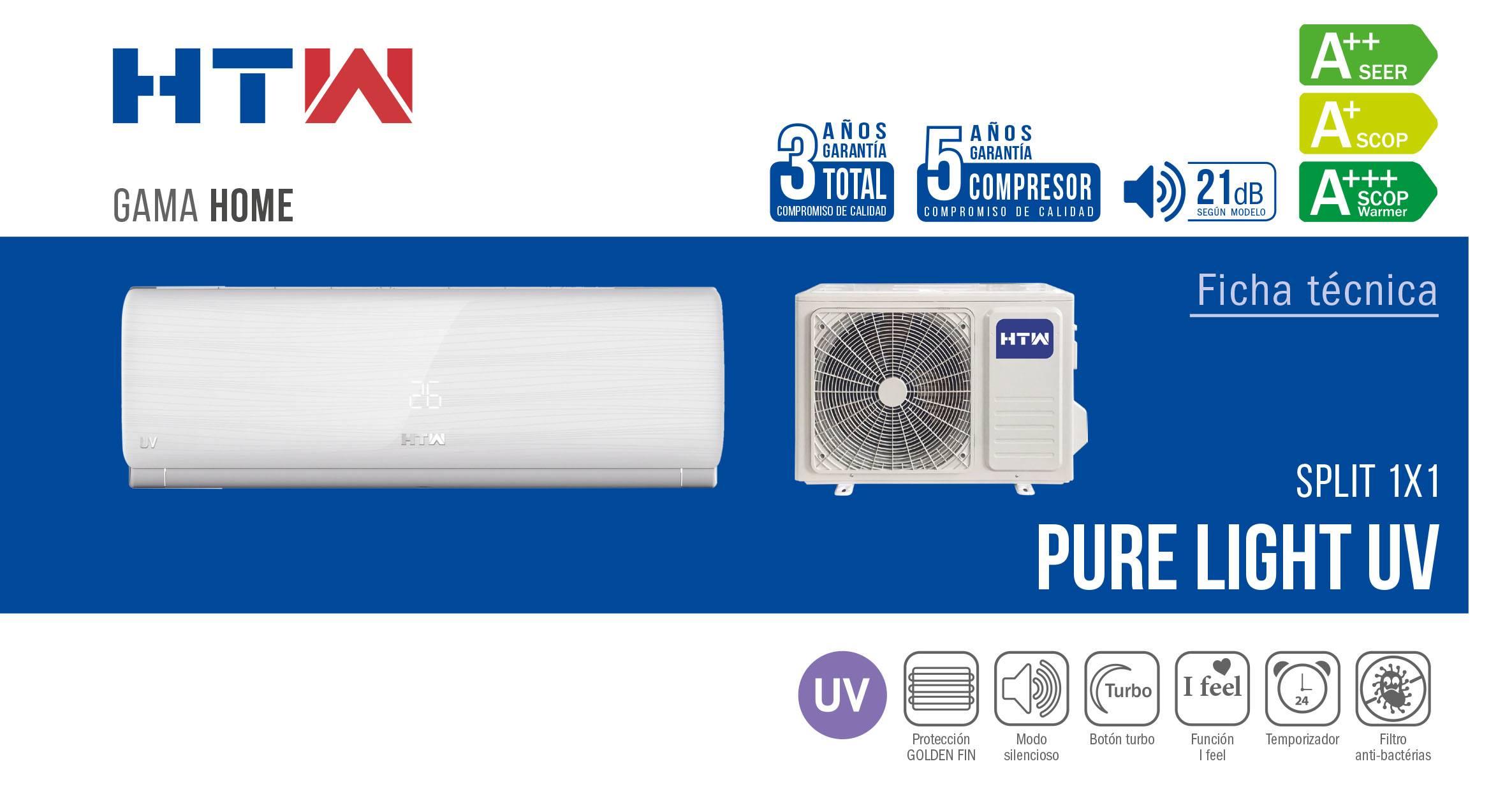 Aire Acondicionado Split HTW Pure Light UV ficha