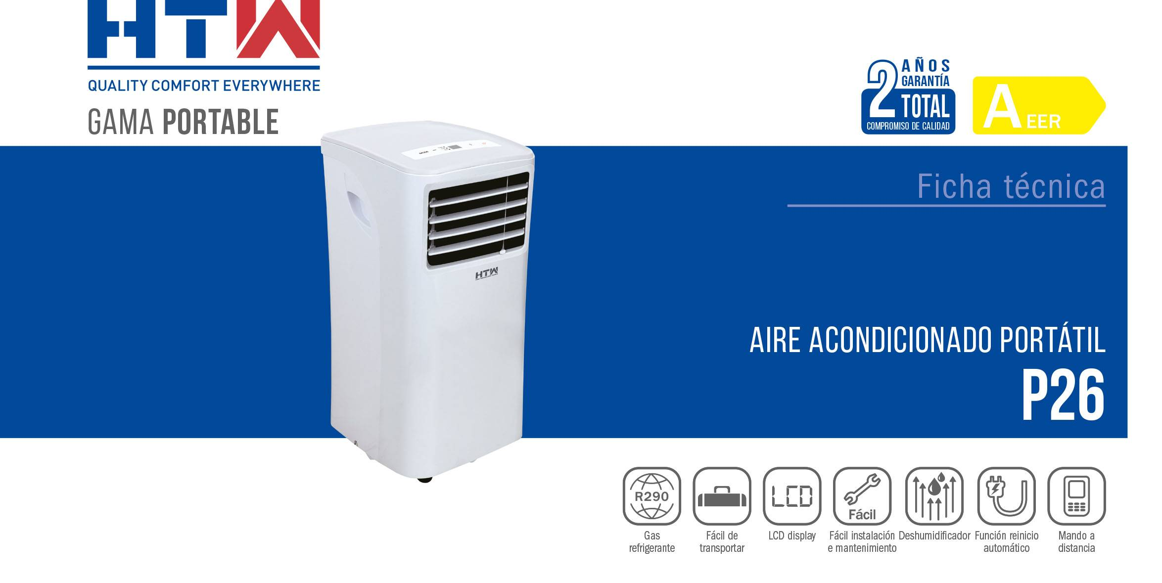 Aire Acondicionado portátil HTW P26 resumen