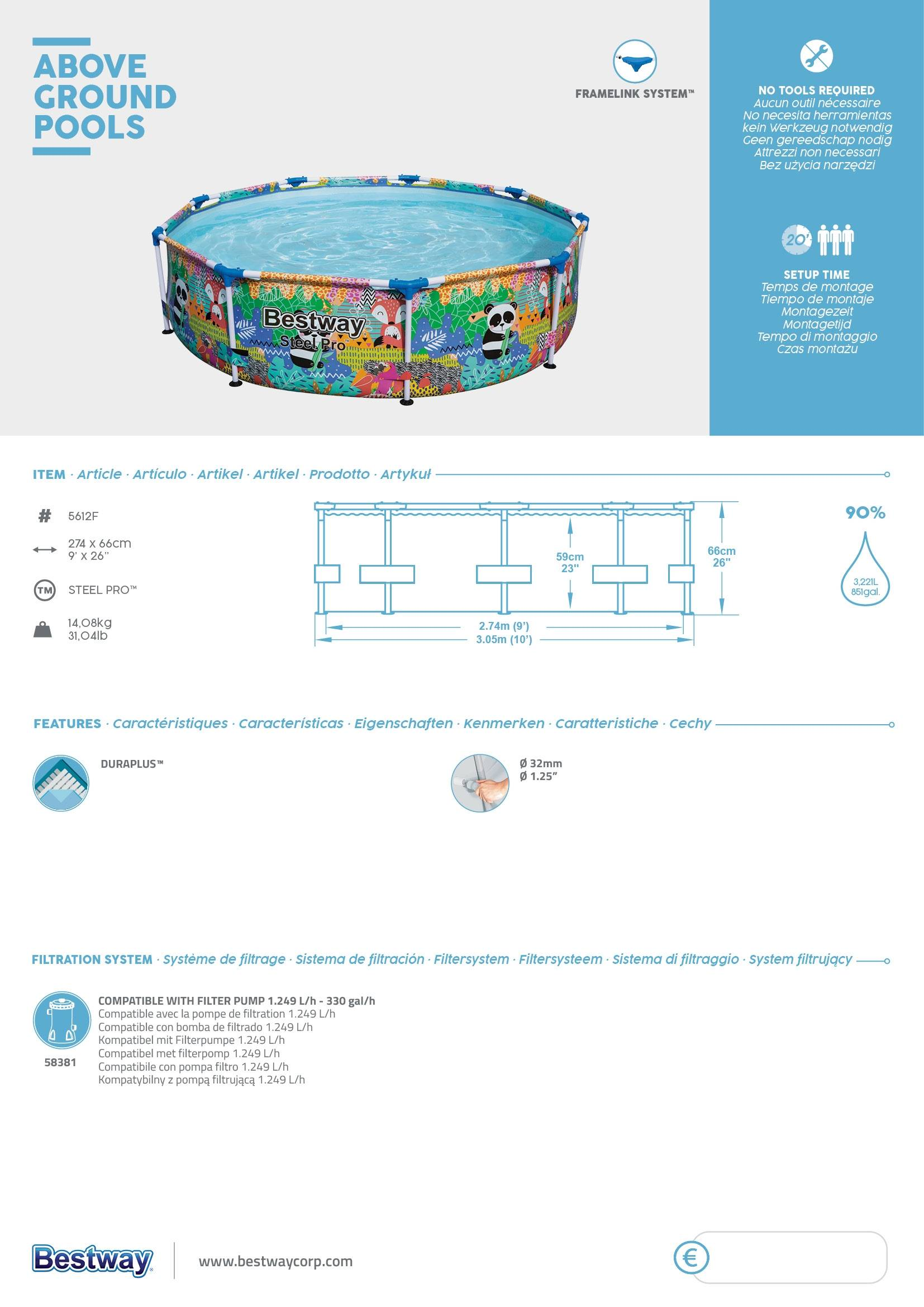 PIscina desmontable tubular infantil Bestway Steel Pro 274x66cm animales