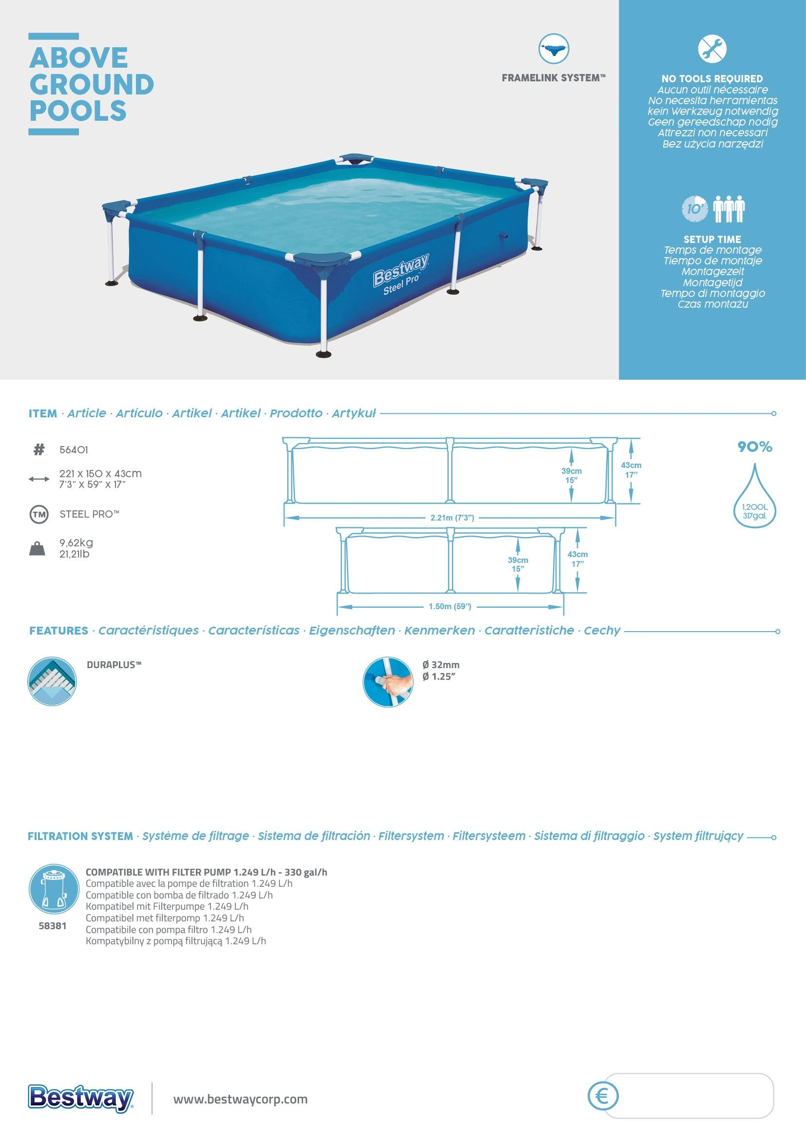 Piscina desmontable tubular Bestway Steel Pro 221x150x43cm