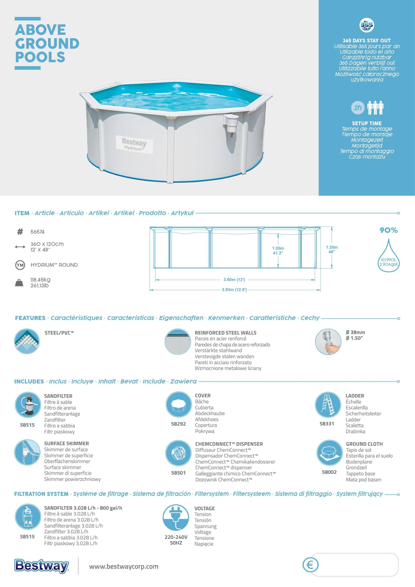 piscina de superficie bestway hydrium redonda 360x120cm