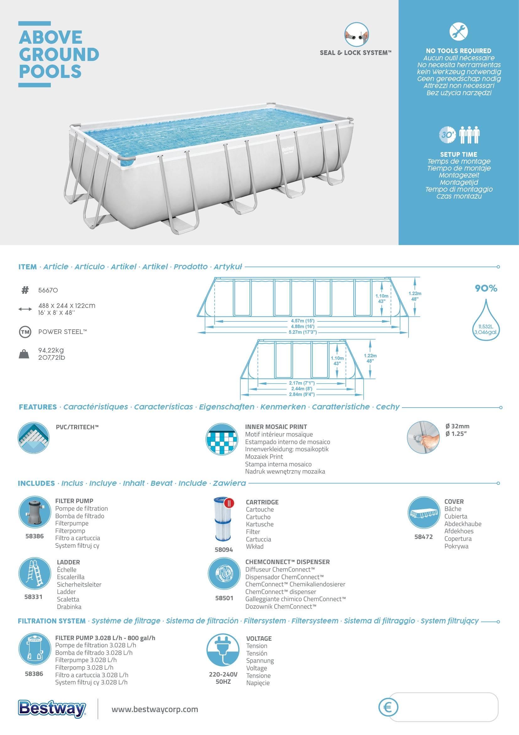 Piscina desmontable tubular Bestway Power Steel 488x244x122cm